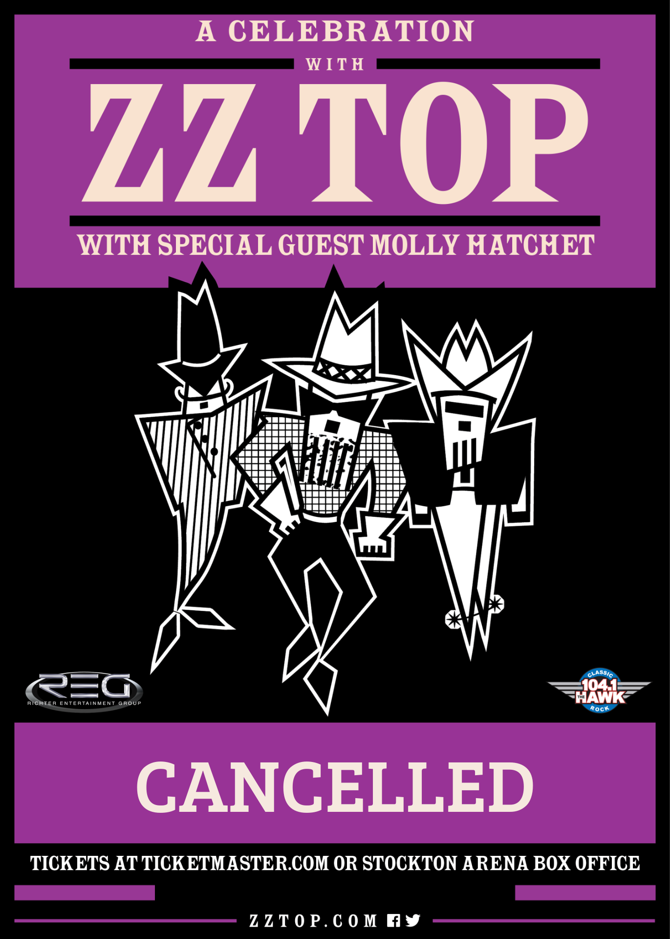 ZZ Top with Molly Hatchet April 26th at Stockton Arena
